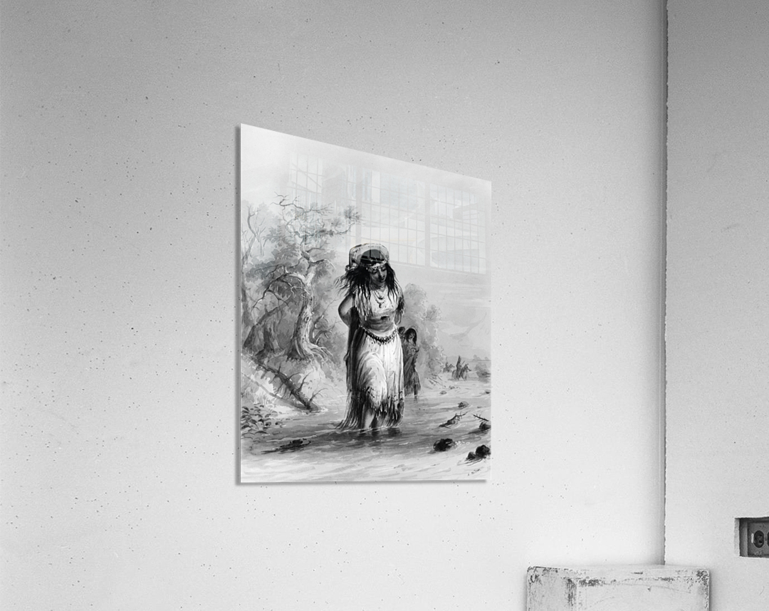 Indian Girl with Papoose Crossing  Acrylic Print