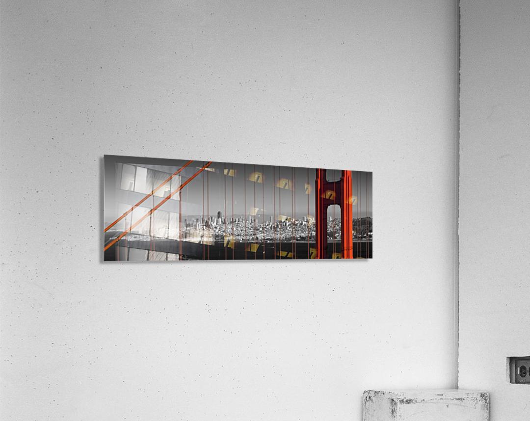 Golden Gate Bridge Panoramic Downtown View  Acrylic Print