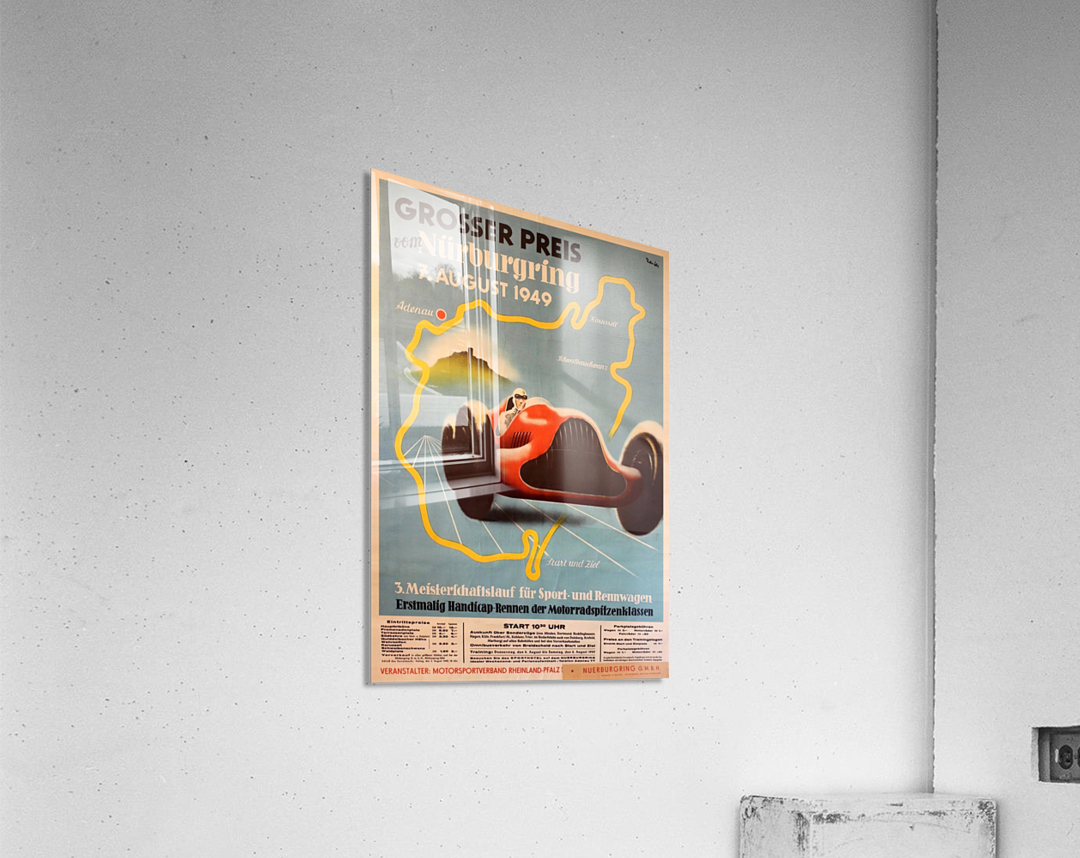 Original Vintage Sports Car Racing Poster for the 1949 Nurburgring Grand Prix  Acrylic Print
