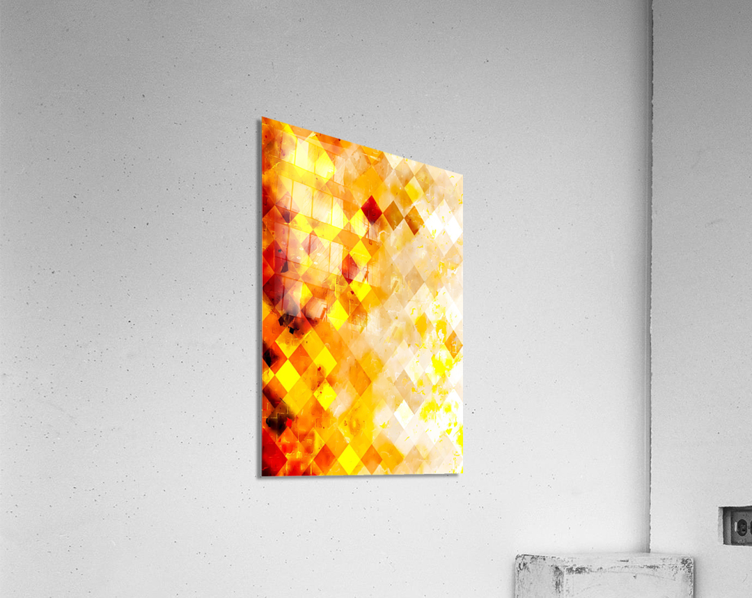geometric pixel square pattern abstract in brown and yellow  Acrylic Print