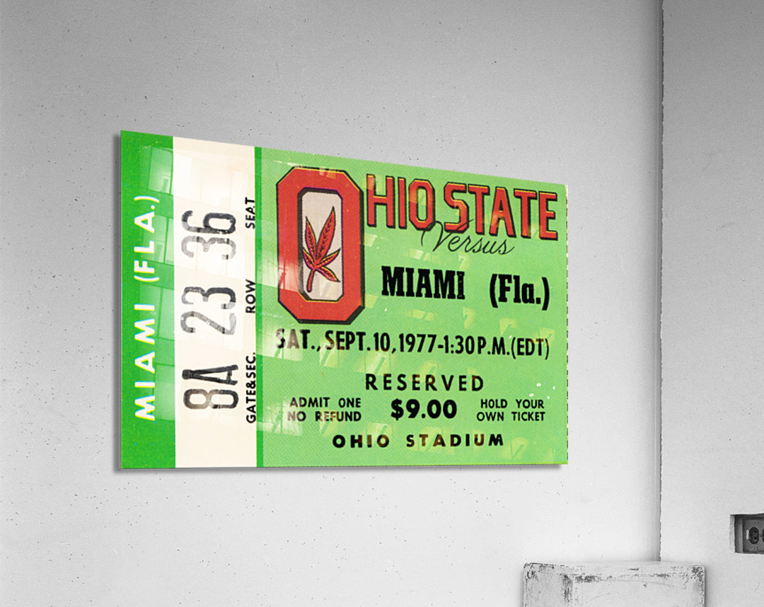 1977 Miami Hurricanes vs. Ohio State Football Ticket Canvas  Acrylic Print