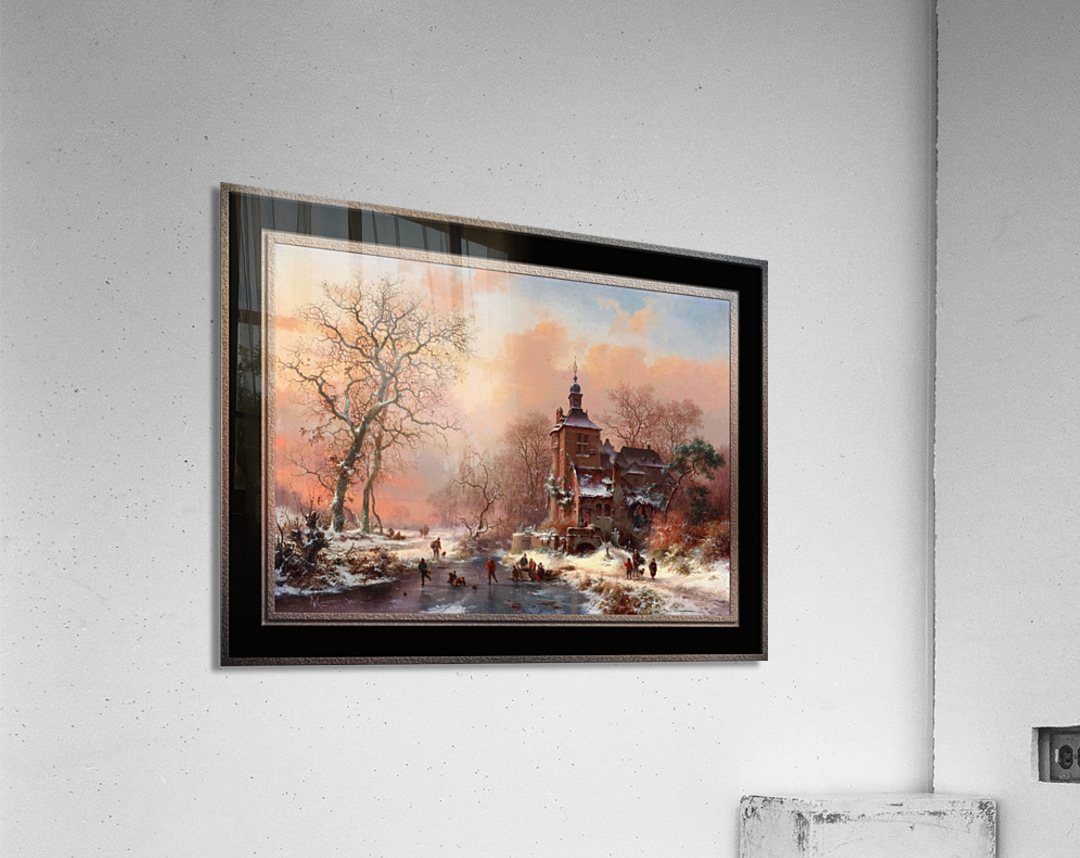 Winter Landscape with Skaters on a Frozen River by Frederik Marinus Kruseman Fine Art Old Masters Reproduction  Acrylic Print