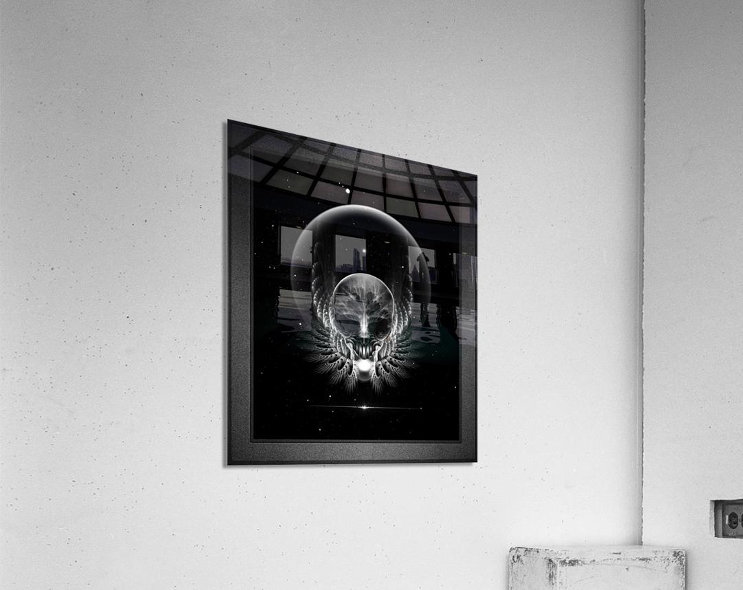 Gothic Wing Feitan Skull Fractal Art Composition  Acrylic Print