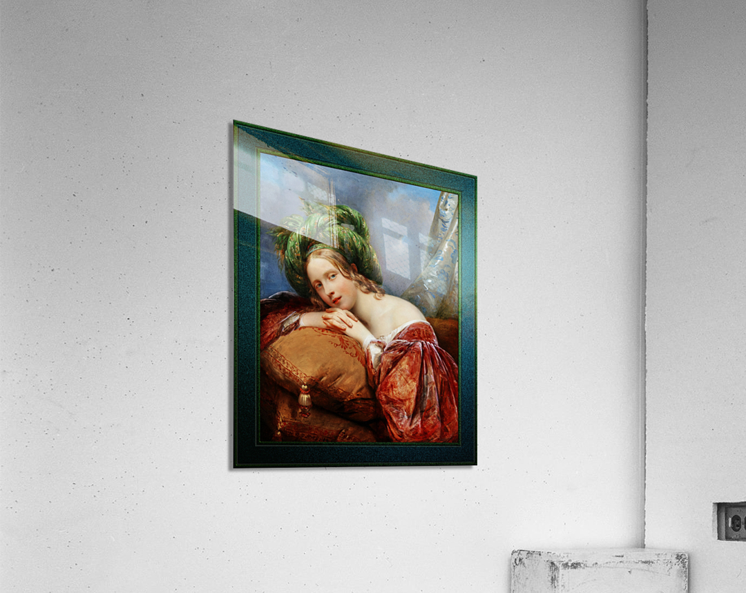 Dame Mit Grunem Turban by Aimee Pages-Brune Classical Fine Art Xzendor7 Old Masters Reproductions  Acrylic Print