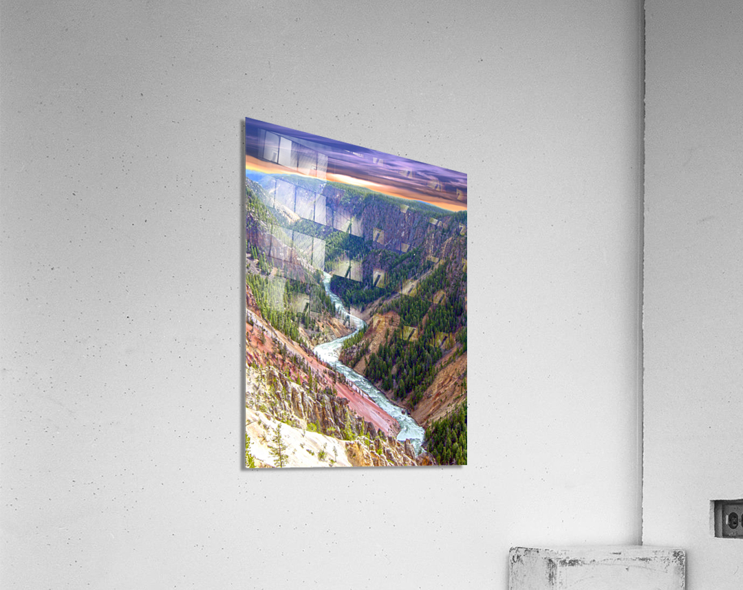 Grand Canyon of Yellowstone in the Waning Light of Day - Yellowstone National Park at Sunset  Acrylic Print