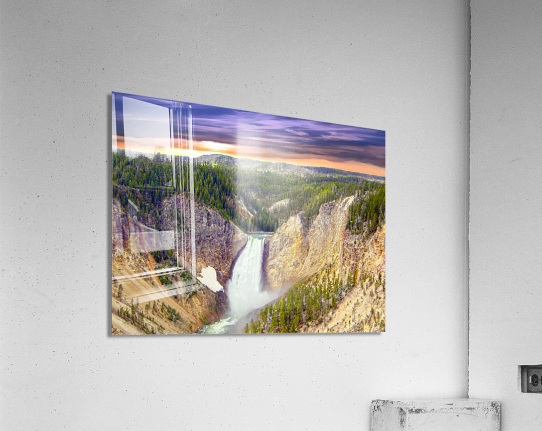 Grand Canyon of Yellowstone - The Falls in the Waning Light of Day - Yellowstone National Park at Sunset  Acrylic Print
