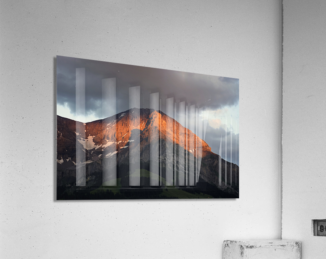 Mountain Bathed in the Golden Rays of the Sun at Sunset in Switzerland 3 of 3  Acrylic Print