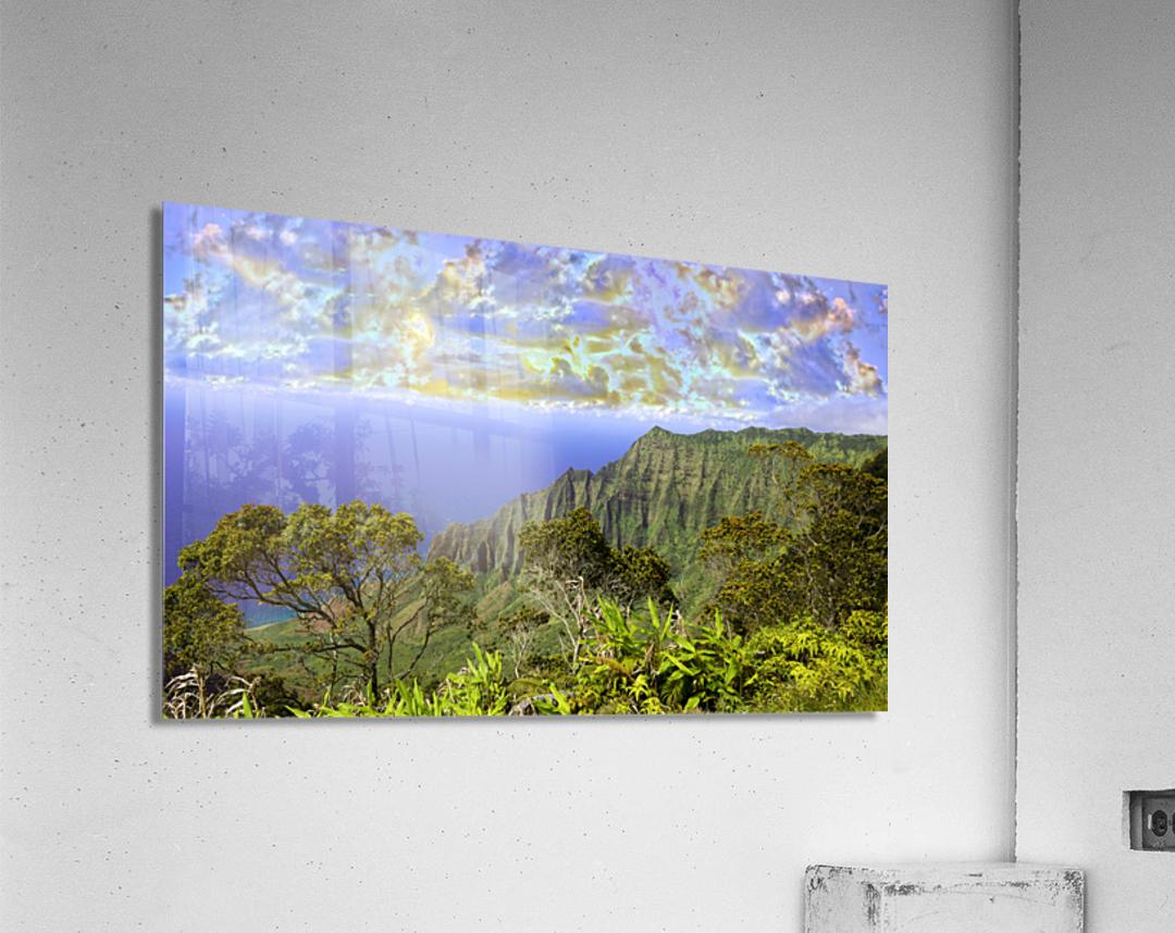 Sunset at Puu O Kila Lookout Kohala Mountains on the Island of Kauai in Hawaii Panorama  Acrylic Print