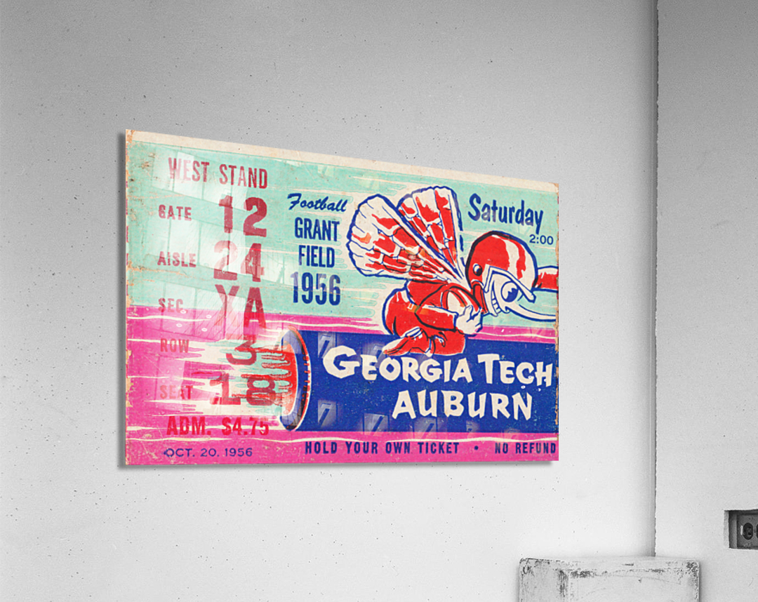 1956 Georgia Tech vs. Auburn Football Ticket Stub Art  Acrylic Print