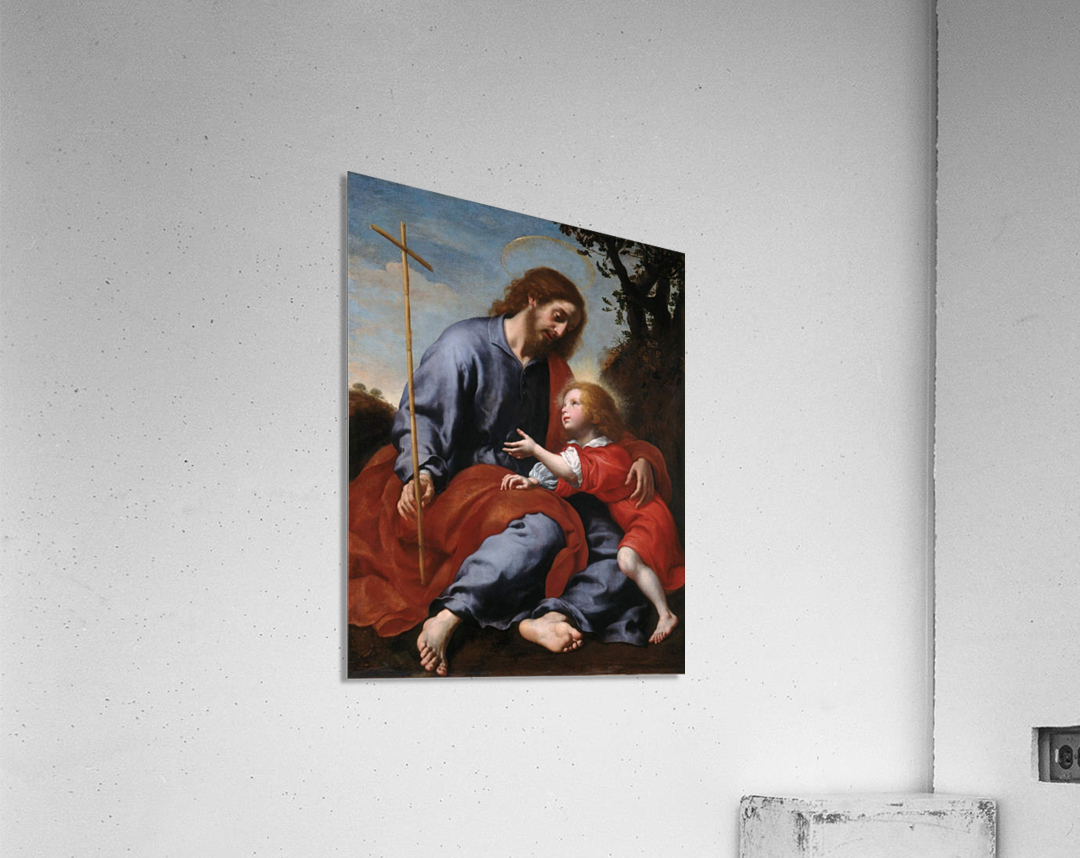 San Giuseppe mostra la croce a Gesu Bambino  Acrylic Print