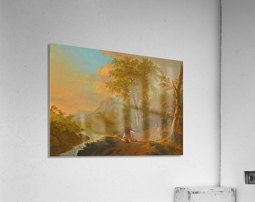 Travellers in a river landscape  Acrylic Print