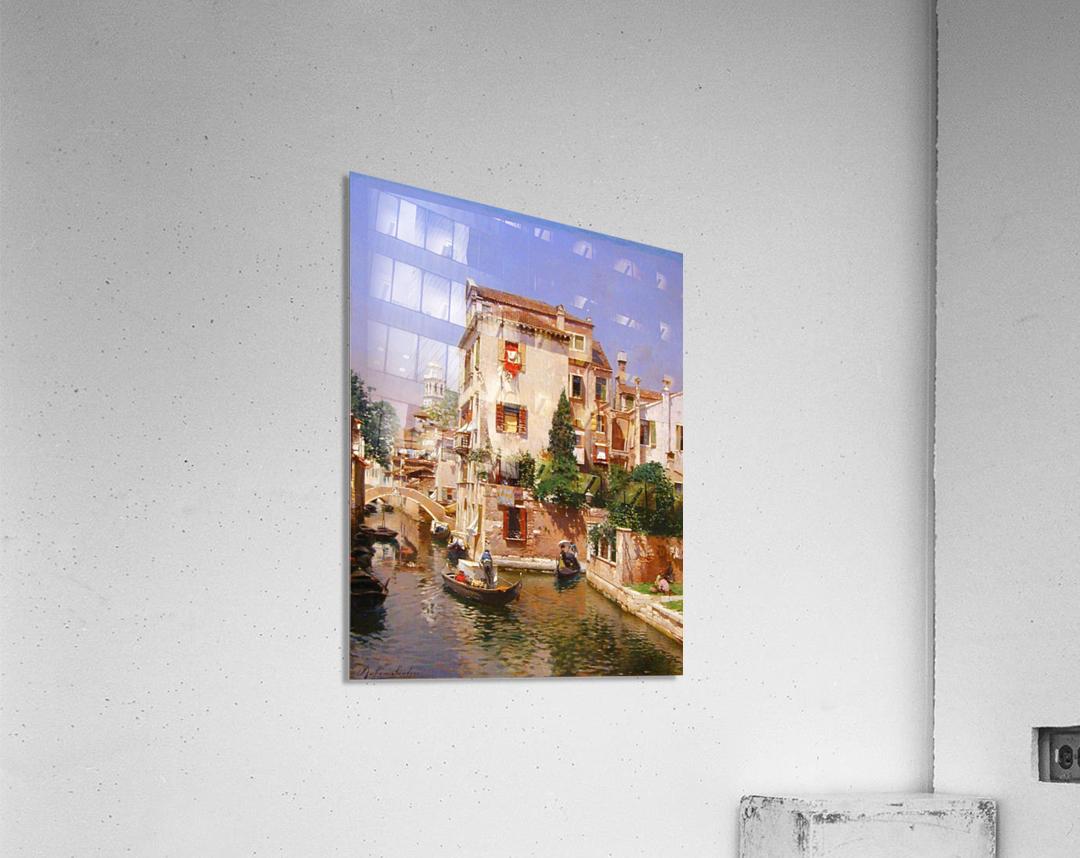 Gondoliers On A Venetian Canal  Acrylic Print