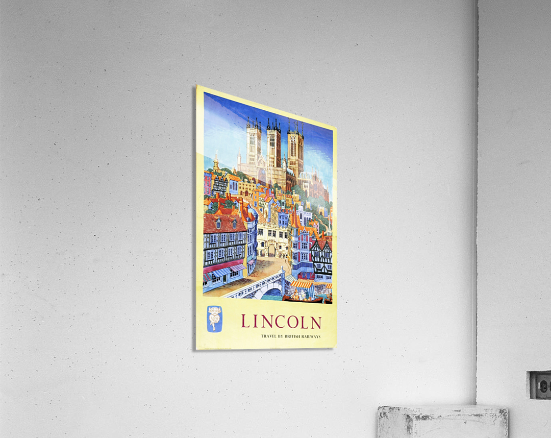 Lincoln vintage travel poster for British Railways  Acrylic Print