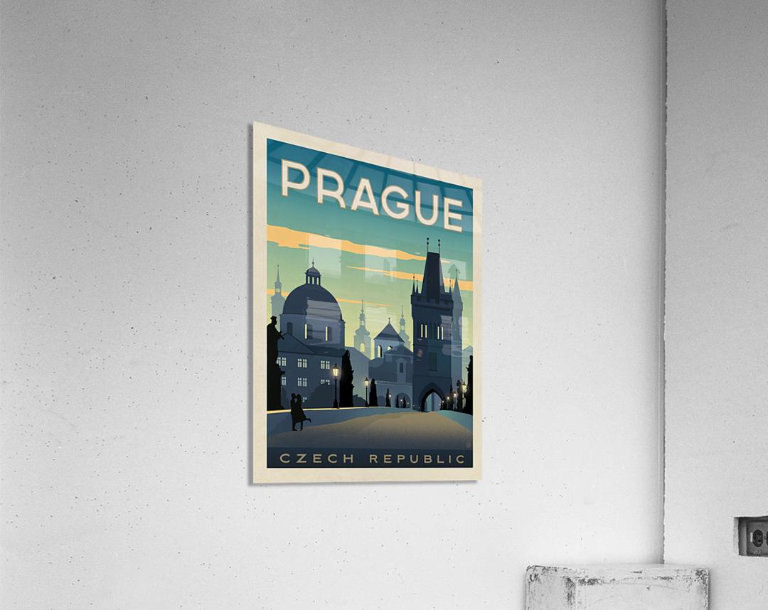 Prague vintage travel poster  Acrylic Print