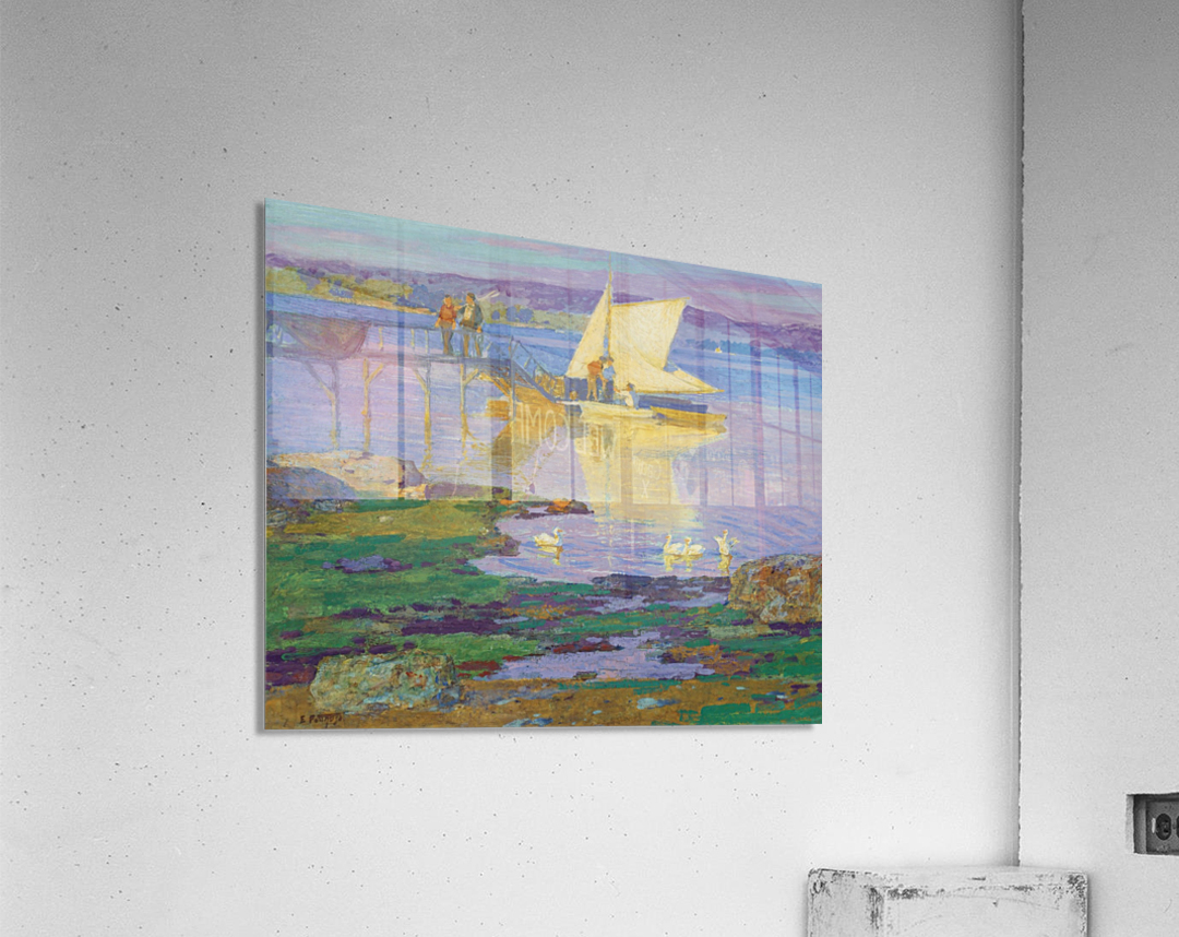 A boat with people by the dock  Acrylic Print