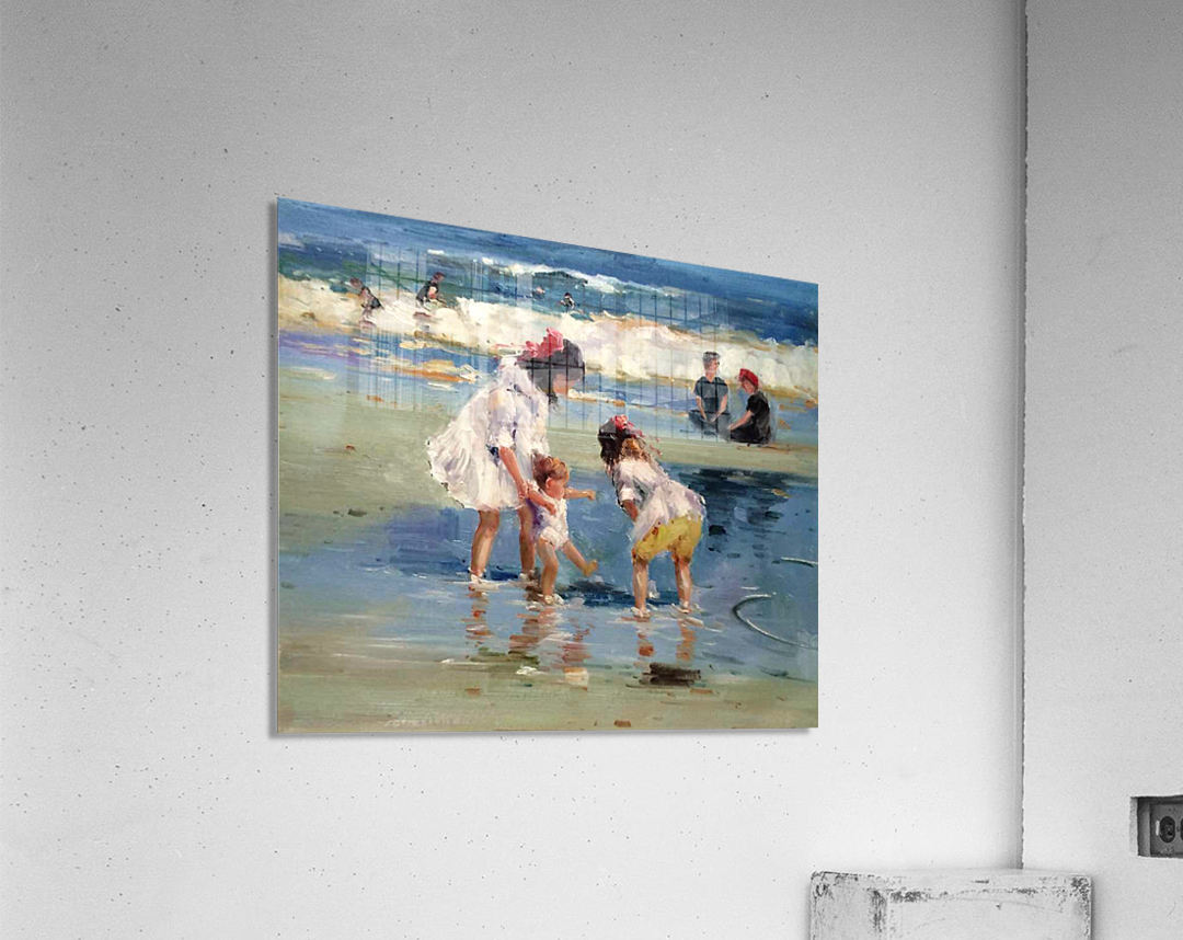 Girls playing in the water  Acrylic Print
