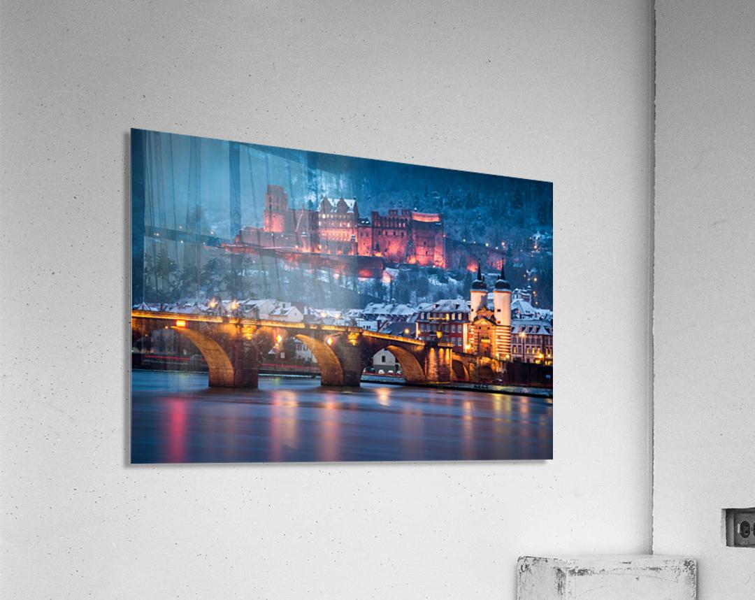 Heidelberg Castle and Old Brige in Winter  Acrylic Print