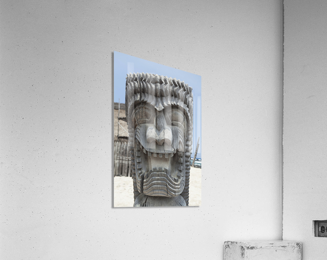 Carving of a face in City of Refuge National Historical Park; Big Island, Hawaii, United States of America  Acrylic Print