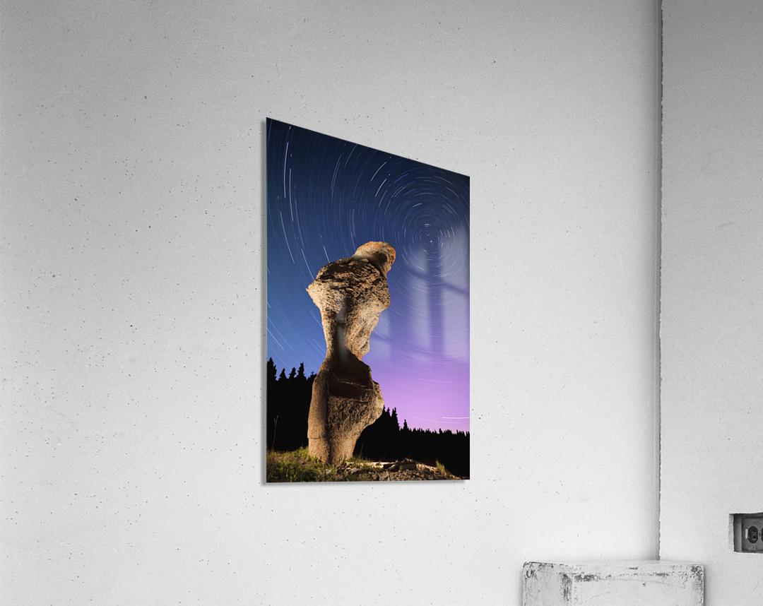 Light painting on monolith and star trails, Anse des Bonnes Femmes at Ile Niapiskau, Mingan Archipelago National Park Reserve of Canada, Cote-Nord, Duplessis region; Quebec, Canada  Acrylic Print