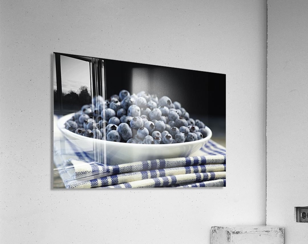 Bowl of blueberries; Quebec, Canada  Acrylic Print