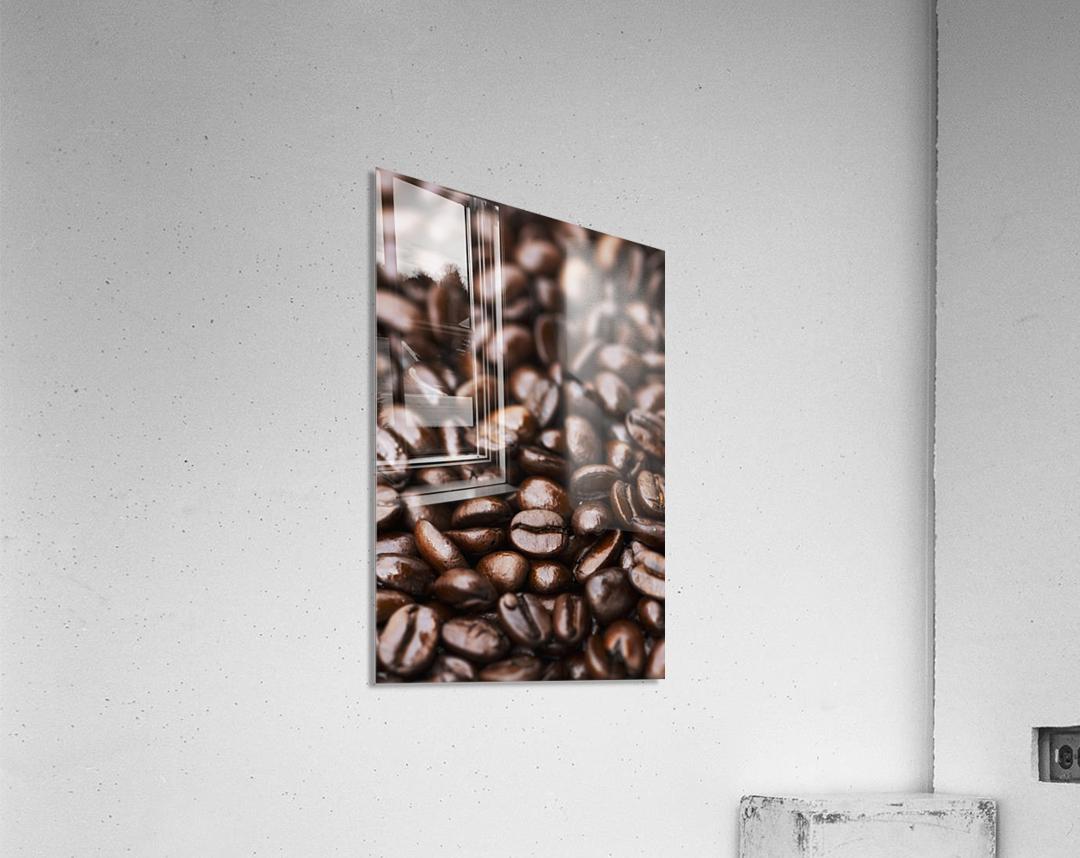 Medium dark roast Kona coffee beans close up; Holualoa, Big Island, Hawaii, United States of America  Acrylic Print