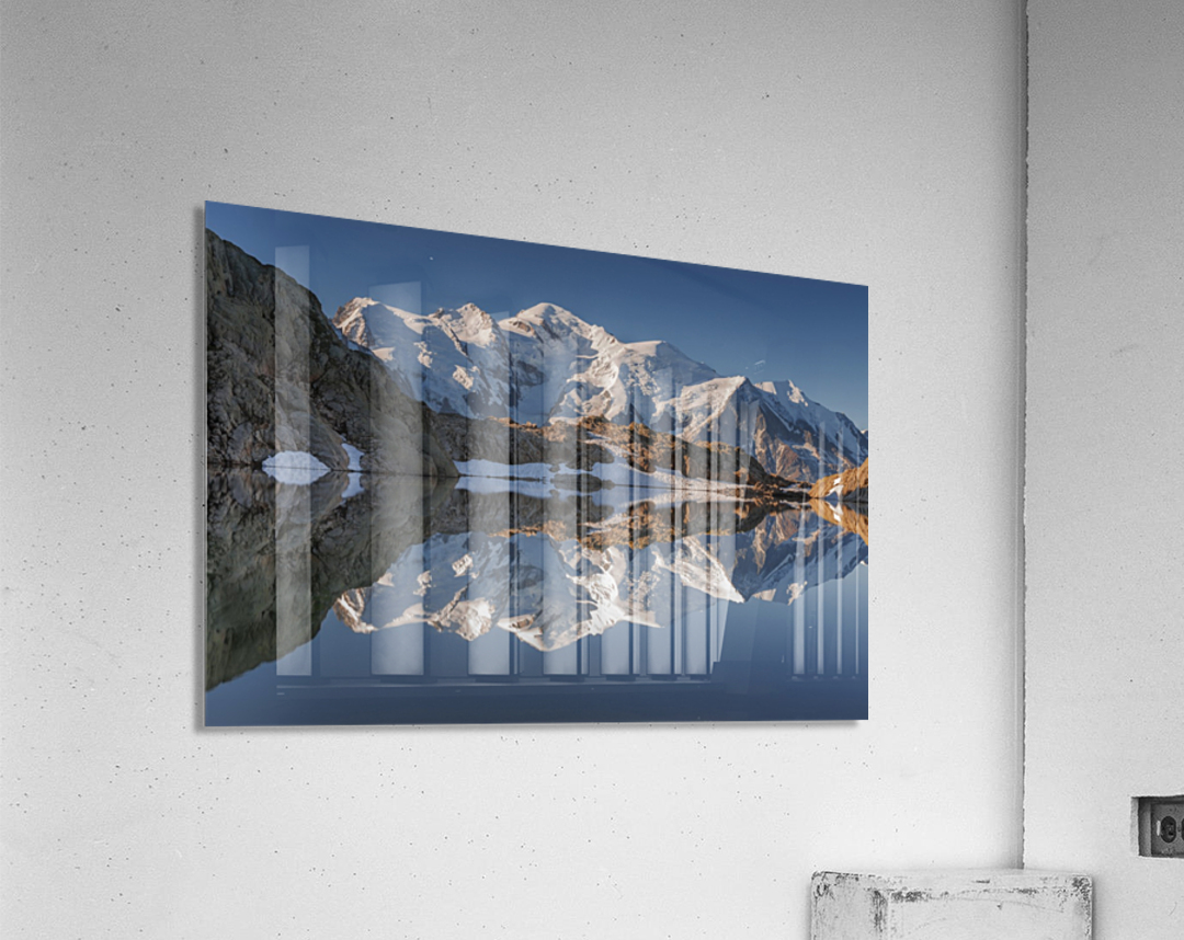 White in Black (Mont Blanc in Lac Noir), French Alps  Acrylic Print