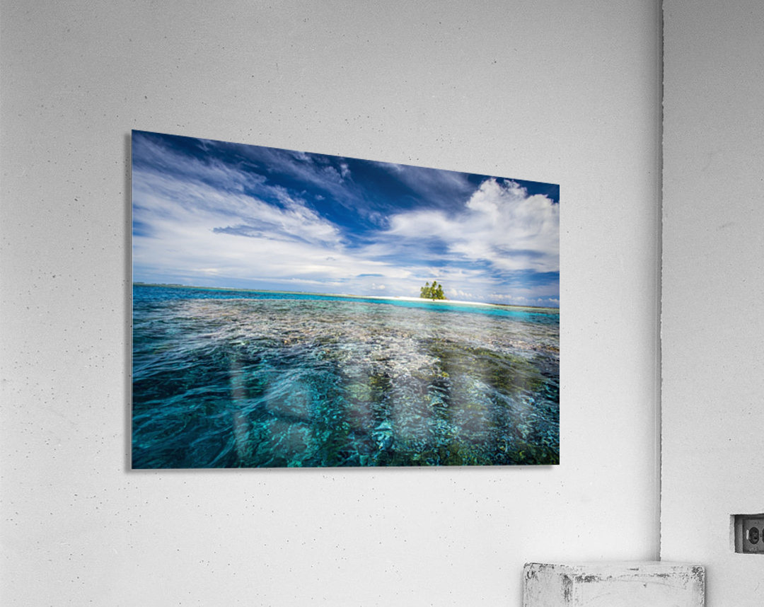 An island that forms part of the marine park, near the Tuvalu mainland; Tuvalu  Acrylic Print