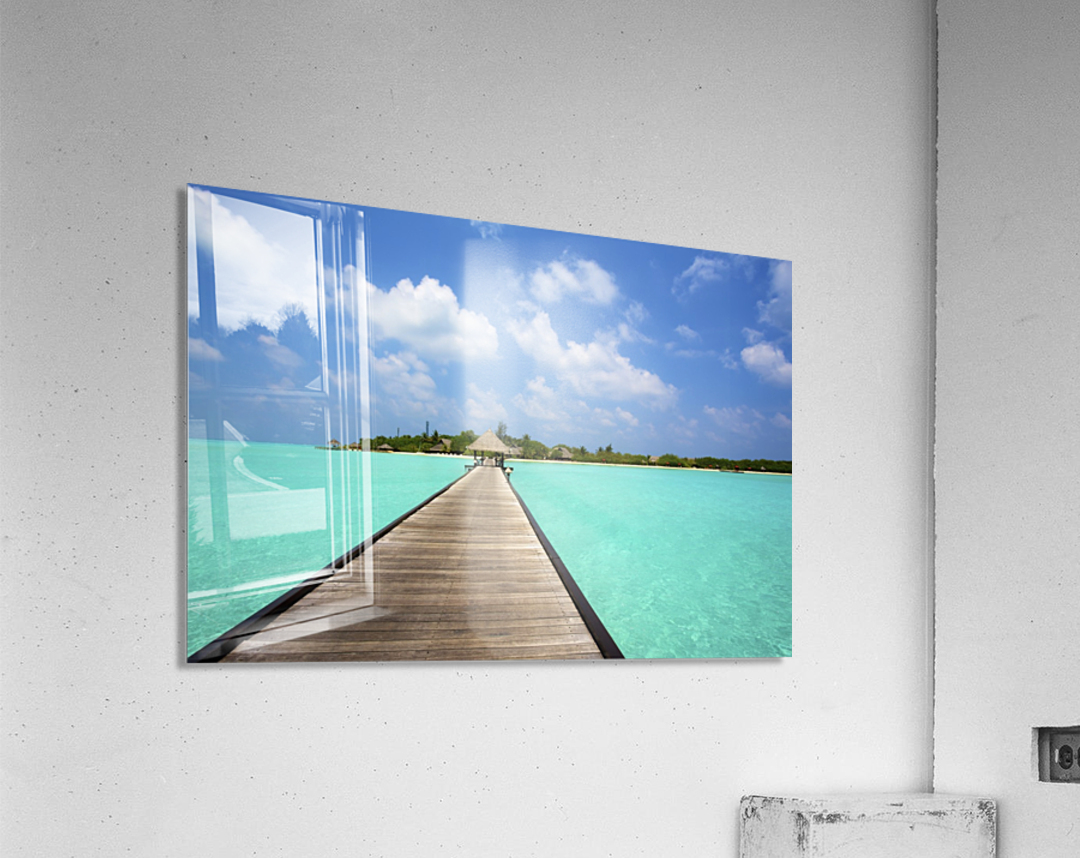 Jetty with cabana over crystal clear turquoise sea, Maldives  Acrylic Print