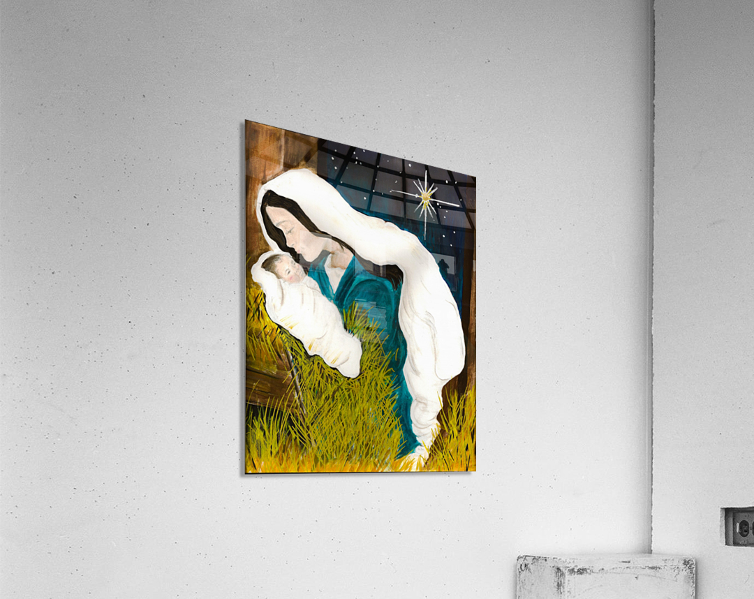 Unto us a Child is Born - Mary and Baby Jesus  Acrylic Print