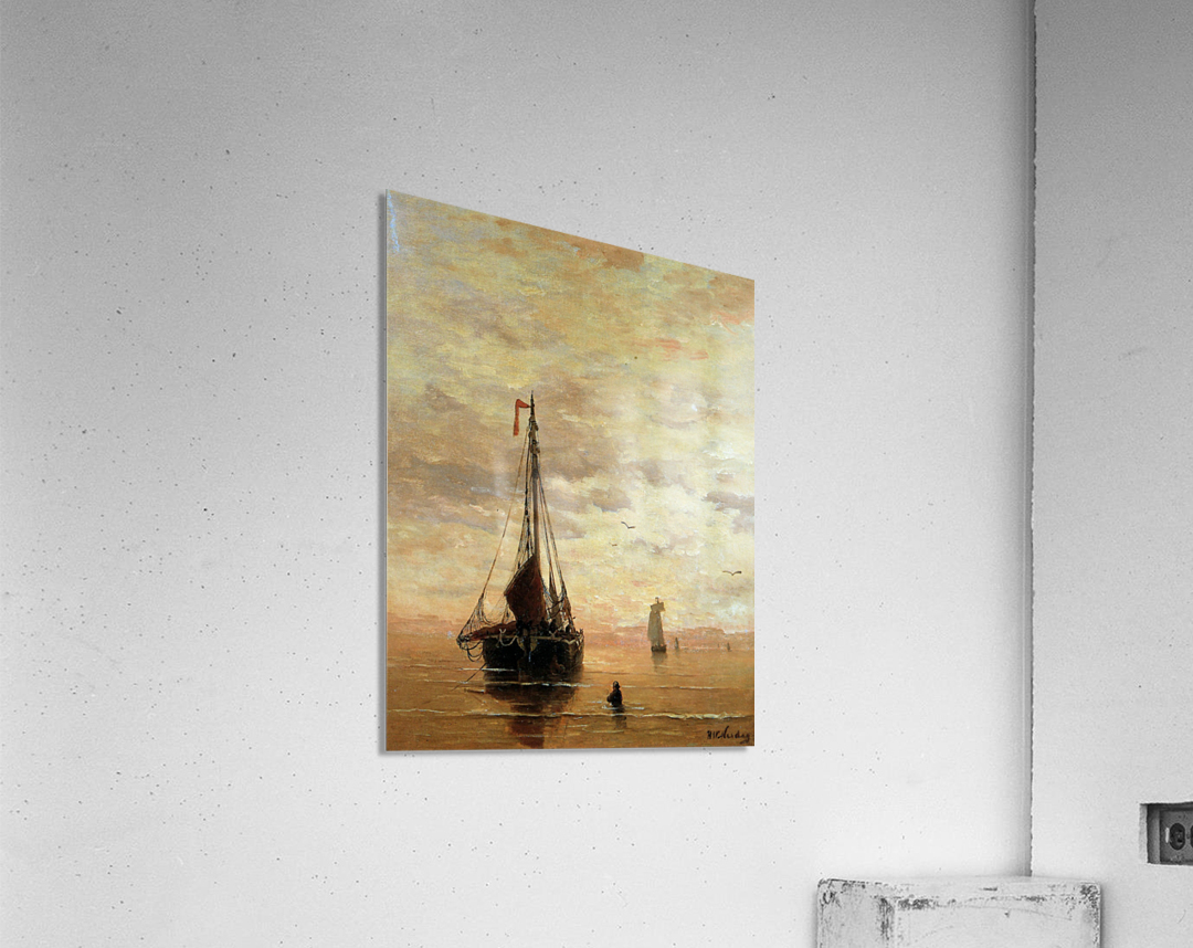 Ships On A Calm Sea Near The Coast Sun  Acrylic Print