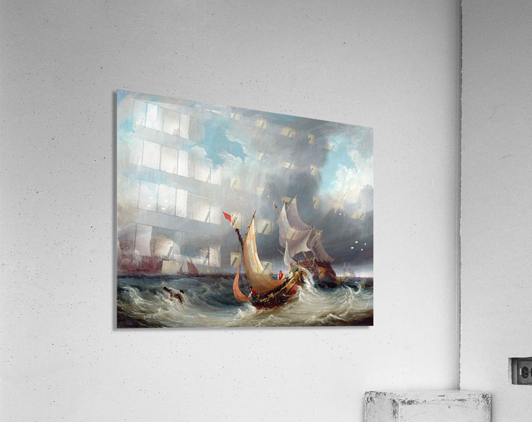 Shipping Offshore in a Stormy Sea  Acrylic Print