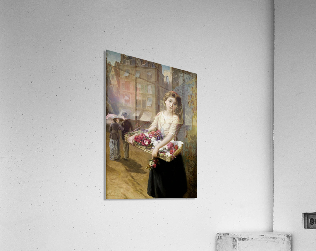 A girl selling roses  Acrylic Print