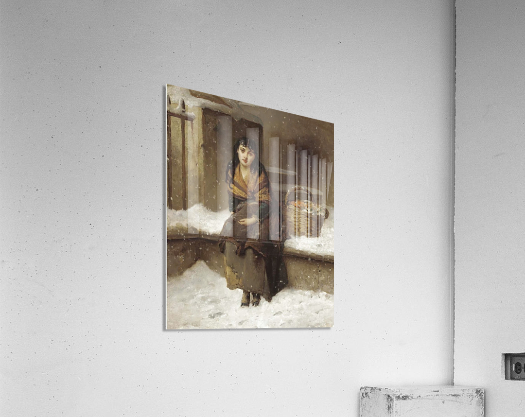 A woman in the snow with a grocery basket  Acrylic Print