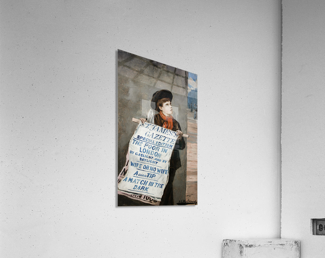 A small boy advertising the news  Acrylic Print