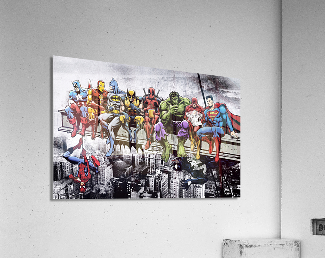 Marvel and DC Superheroes Lunch Atop A Skyscraper Featuring Captain America, Iron Man, Batman, Wolverine, Deadpool, Hulk, Flash & Superman  Acrylic Print