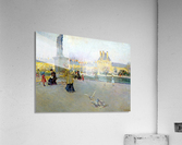 City view with figures and birds in Paris  Acrylic Print