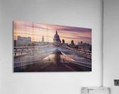 Millennium bridge leading towards St. Paul's church  Acrylic Print