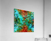 psychedelic geometric abstract pattern in green blue orange  Acrylic Print