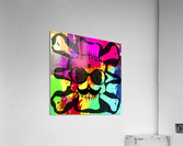 old vintage funny skull art portrait with painting abstract background in red purple yellow green  Acrylic Print
