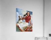 vintage poster soda woman and dog  Acrylic Print
