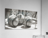 3 Baseballs on a Bucket in Sepia  Acrylic Print