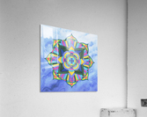 Hand Painted Mandala Watercolor Meditation on Blue  Acrylic Print