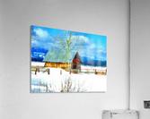 Winter Homestead Watercolor   Acrylic Print