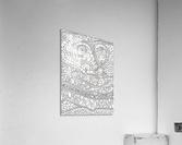 Wandering Abstract Line Art 03: Black & White  Acrylic Print