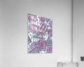 Wandering Abstract Line Art 15: Pink  Acrylic Print
