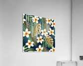seamless pattern with tropical strelitzia flowers leaves exotic background_  Acrylic Print