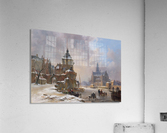 Winter cityscape with frozen river  Acrylic Print