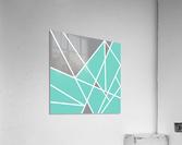 Gray Teal Triangles Geometric Art GAT101 square  Acrylic Print