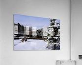 Harpersfield Ohio covered bridge winter and snow  Acrylic Print