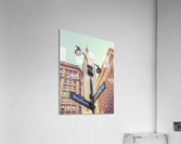 Street lamp and street signs with Empire State building in background - New York  Acrylic Print